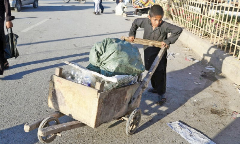 A boy carries garbage in a pushcart in Peshawar. — Dawn