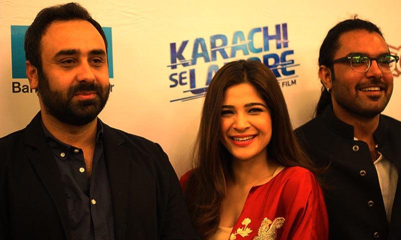 Wajahat Rauf, Ayesha Omer and Yasir Hussain at the press event. — Photo by Yumna Rafi