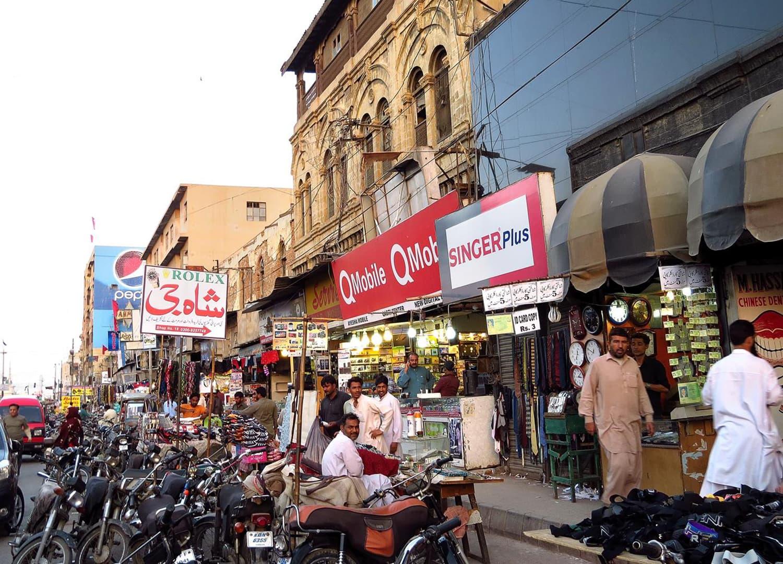 A view of the market in Saddar, Karachi.
