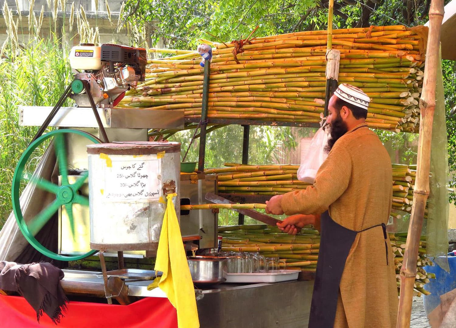 A sugarcane juice vendor in Islamabad.