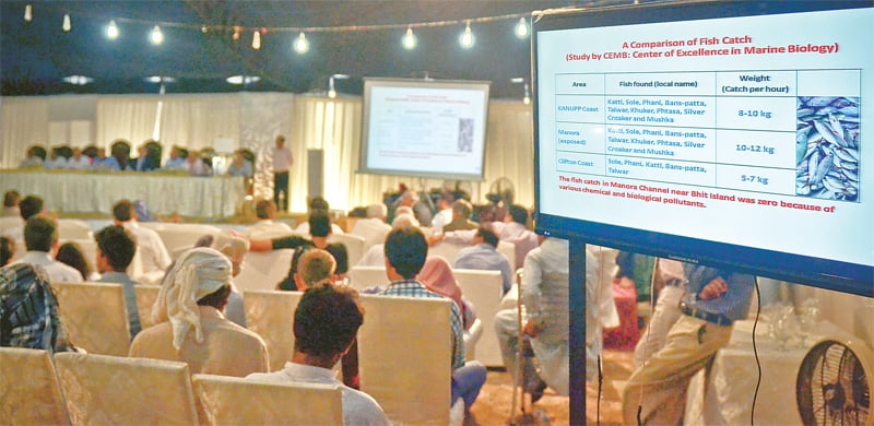 The public hearing organised by the Sindh Environmental Protection Agency on the twin nuclear power plants under way on Monday. —Fahim Siddiqi / White Star