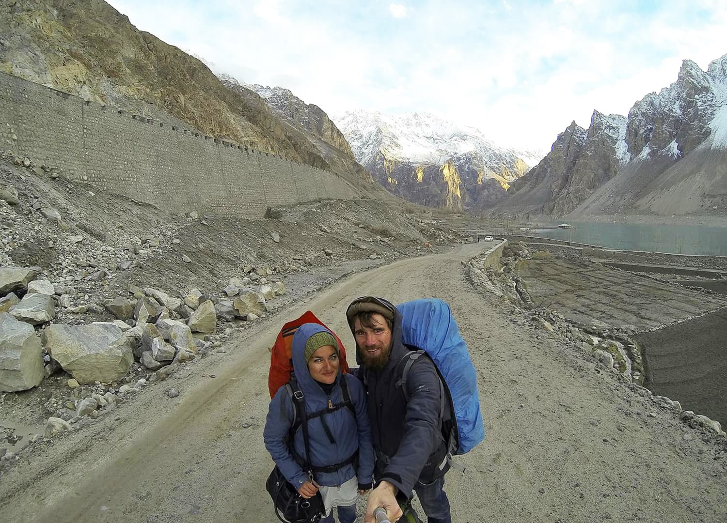 Walking along the KKH near Attabad Lake.