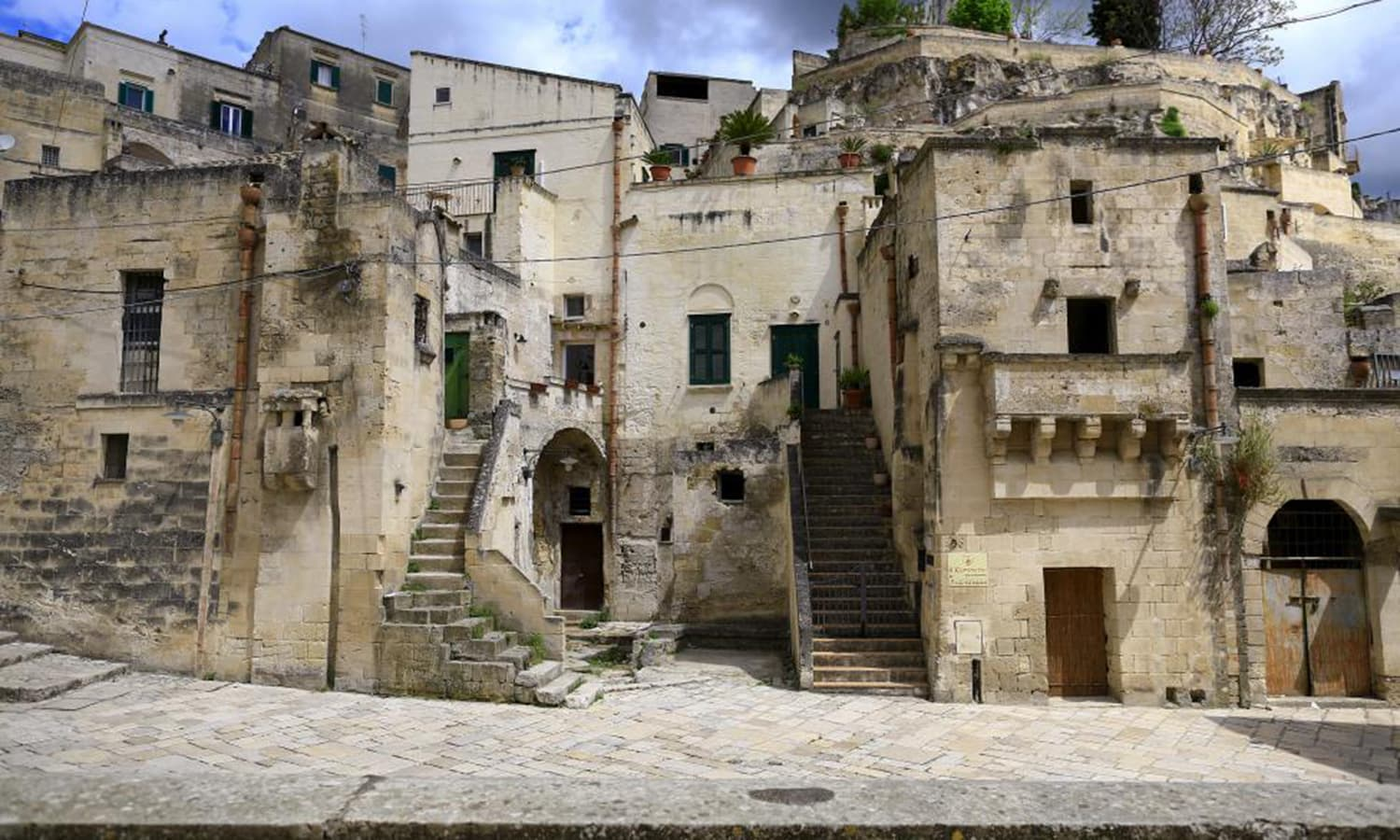A general view of Matera's Sassi limestone cave dwellings in southern Italy.