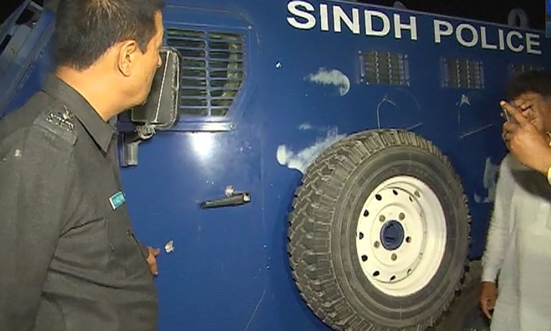 Police vehicle that came under attack. -DawnNews screengrab
