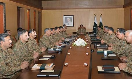 The conference reviewed professional matters of the army and the country's domestic and external security situation, including the progress of operation Zarb-i-Azb.- ISPR Photo