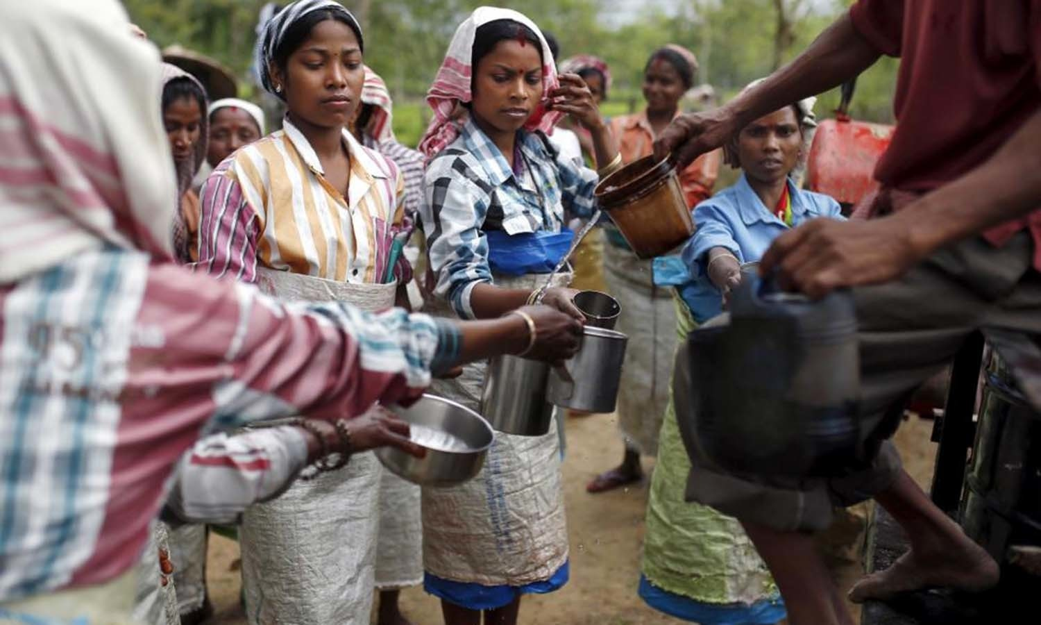 Tea garden workers collect drinking water during a break inside Aideobarie Tea Estate in Jorhat in Assam. — Reuters