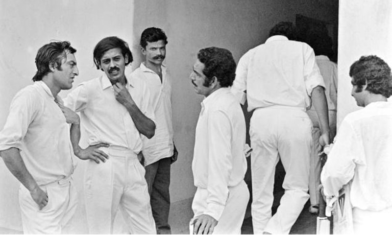 MA Khan Pataudi (left) with some Indian players in 1975. He was accused by former Indian captain, Ajit Wadekar, of usurping his (Wadekar's) captaincy in 1975.