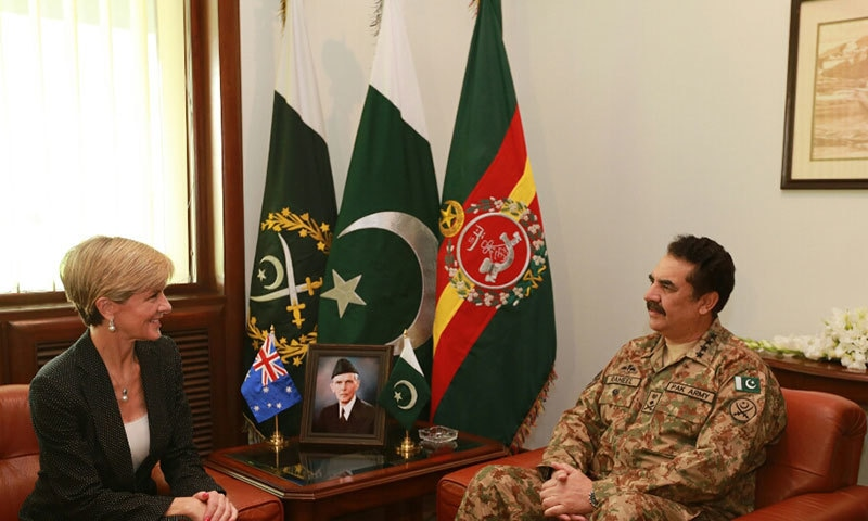 Australian Foreign Minister Julie Bishop meets Army Chief General Raheel at General Headquarters in Rawalpindi. — Photo courtesy: ISPR