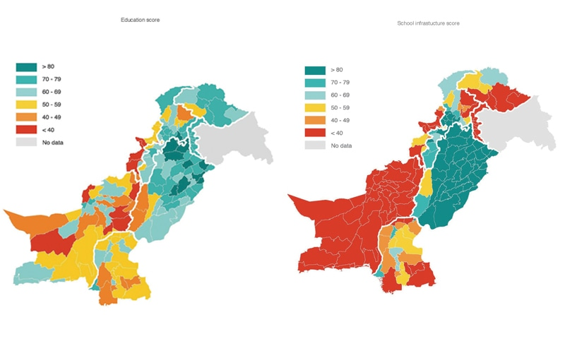 A COMPARISON of the two maps - that depict district education scores (left) and district infrastructure scores (right) - shows that there is a co-relation between availability of resources and the results the produced. — Graphics courtesy Alif Ailaan
