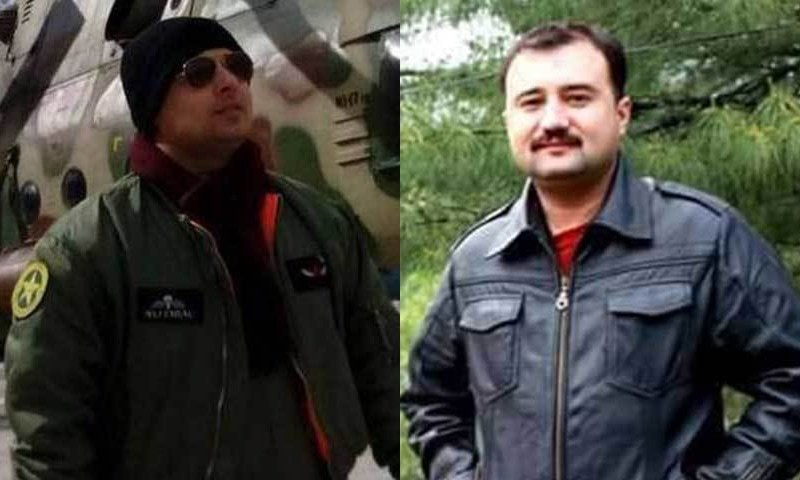 The two pilots Major Faisal and Major Altamash killed in the crash. - DawnNews