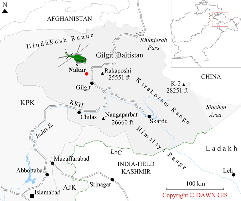 Map showing MI-17 helicopter crash site. ─ Dawn GIS