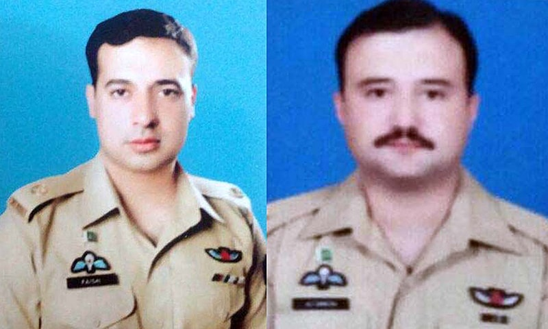 File photo of pilots Maj Altamash Shaheed and Maj Faisal Shaheed who embraced Shahadat when a helicopter crashed at Naltar.-APP