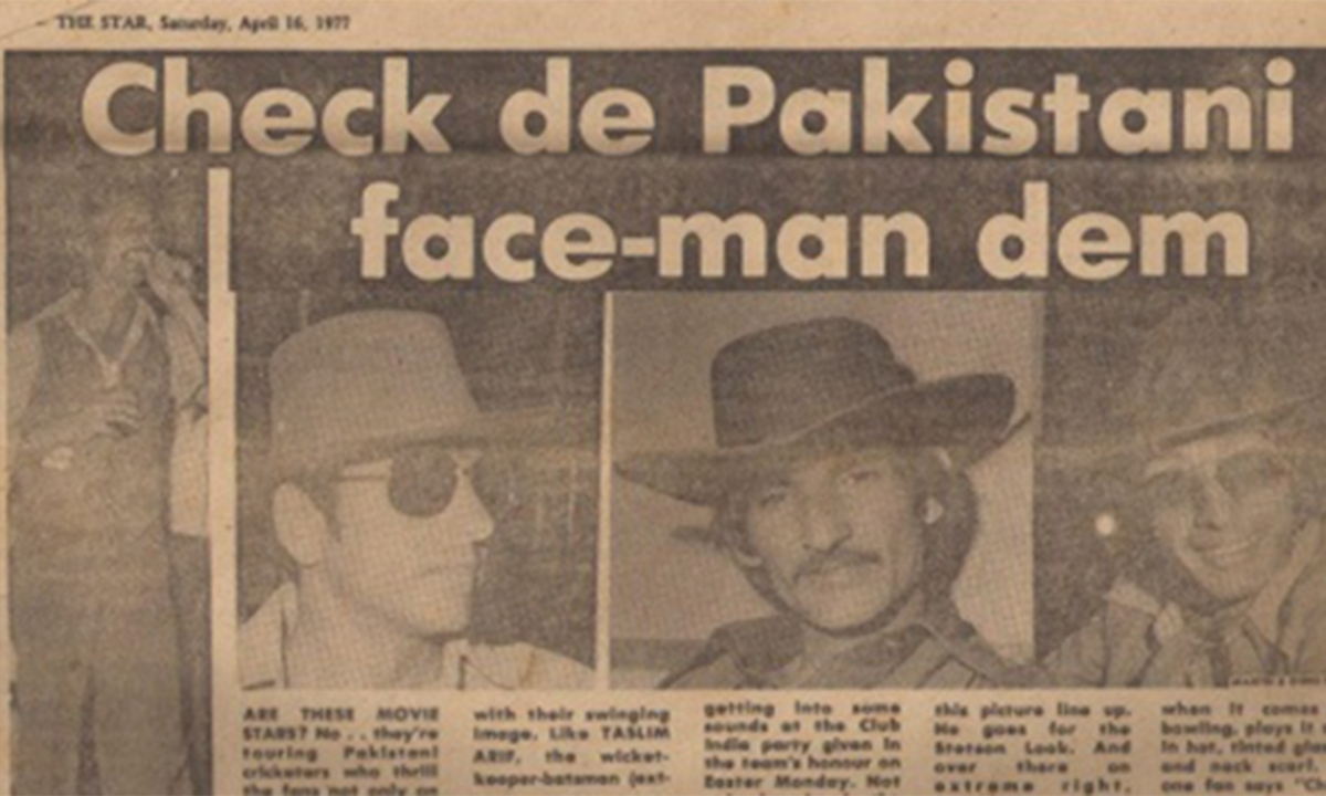 "Taslim Arif, Majid Khan and Sikander Bakht featured in a West Indian News paper as the Pakistani Team visited a nightclub in Jamaica. ""Are these movie stars? No .. they are touring Pakistani cricketers,"" the paper reported"