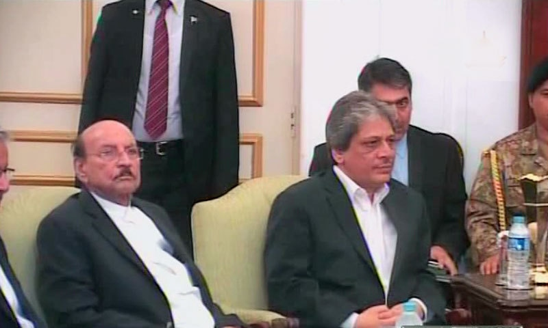 Sindh CM Qaim Ali Shah (L) and Governor Dr Ishratul Ibad in the meeting.- DawnNews screengrab