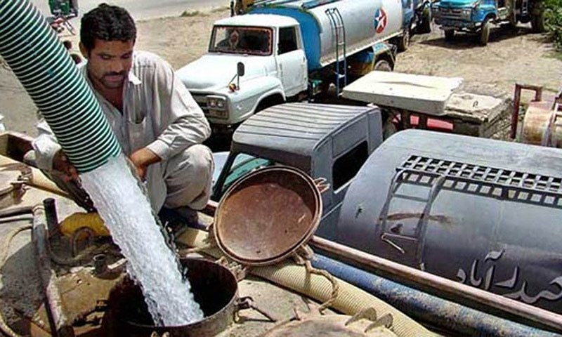 File photo shows a water tanker, being refilled at a hydrant. — Faisal