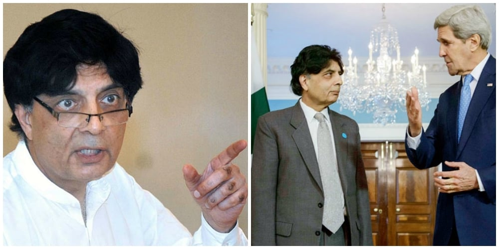 Nisar clearly feels in his element clad in shalwar kameez (L). He looks 50 shades of miserable in his gray suit (R).