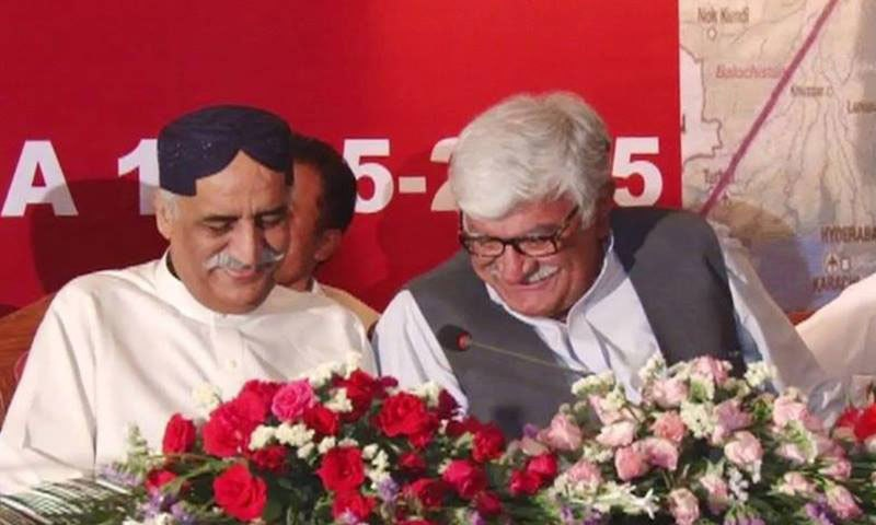 Opposition leader Khursheed Shah and ANP chief Asfandyar Wali gestures during the multi-party meeting. — DawnNews screengrab