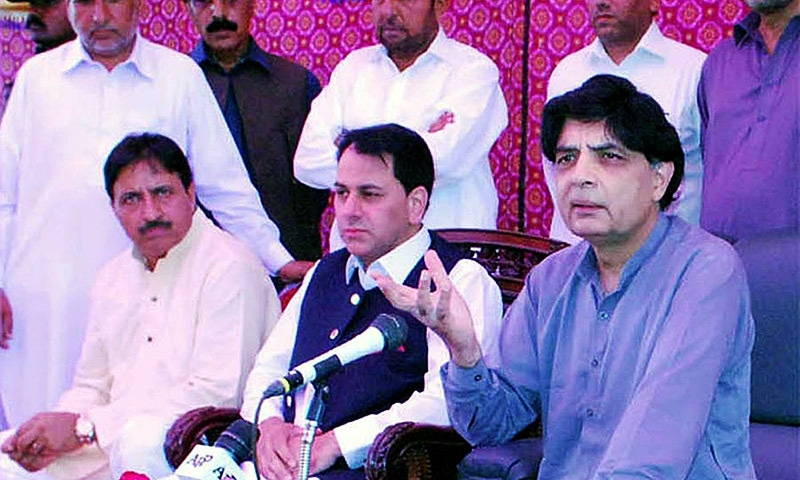Federal Interior Minister Chaudhry Nisar Ali Khan addressing the gathering of notables of Kallar Syedan. — INP
