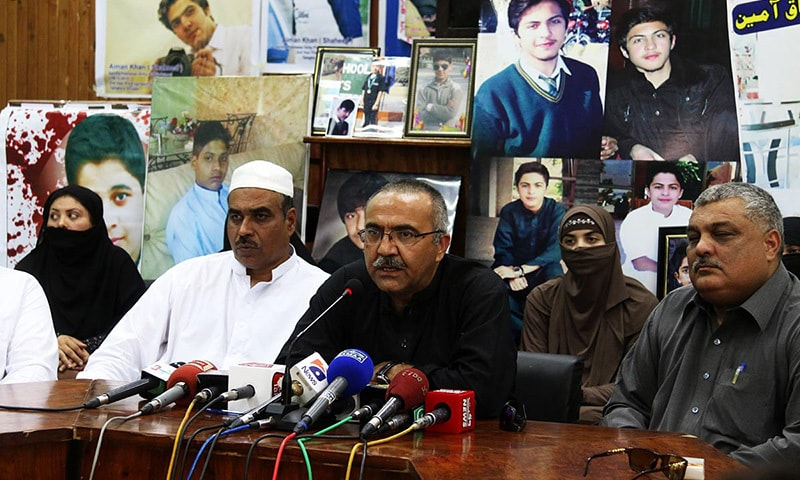 Parents of the students of Army Public School, hold a press conference in Peshawar.— Online