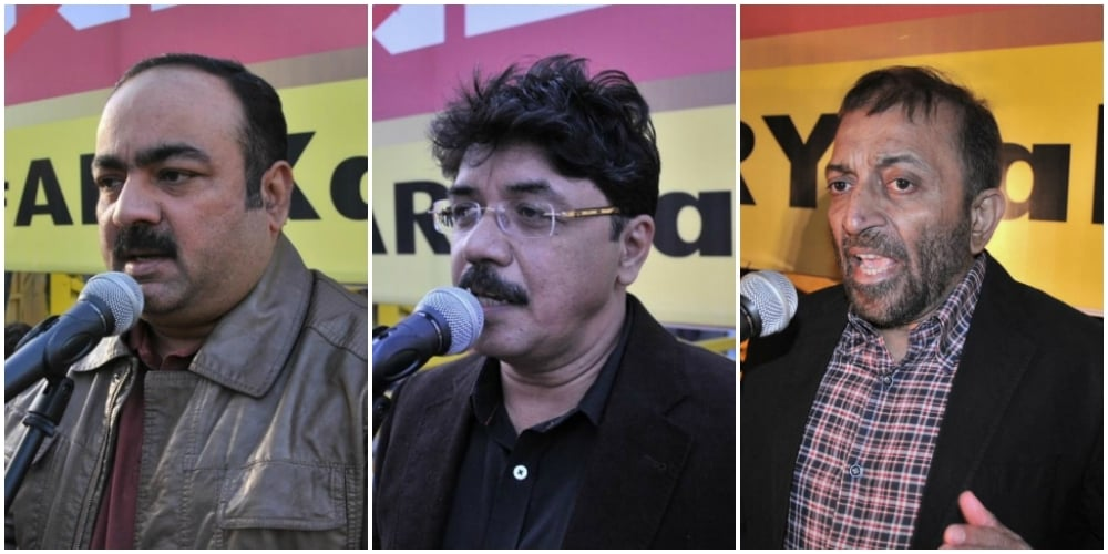 Khuwaja Izrahul Hasan, Qamar Mansoor and Farooq Sattar: So apparently ties are not a thing.. — Photo courtesy: MQM wesbite