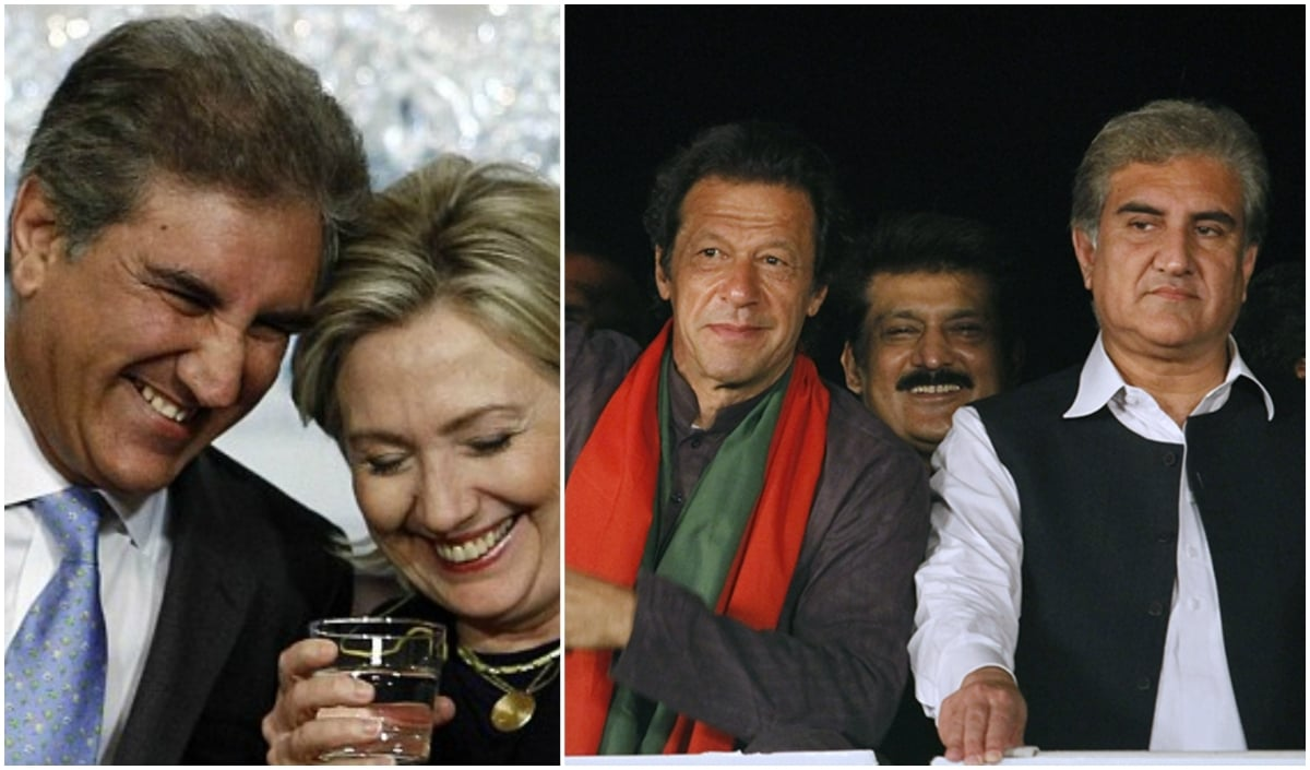 SMQ looks happiest in a suit, seen here (L) with Hillary Clinton during his tenure as foreign minister. When you put him in traditional garb (R) he gets grump-face.