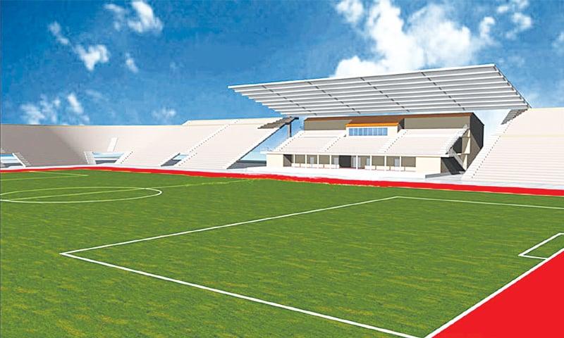 The architect's illustration of the futuristic stadium that was to be built in Peshawar. — Courtesy UrbanPK