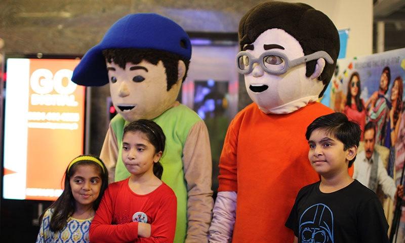 3 Bahadur mascots at the film's premiere. — Photo by Zoya Anwer