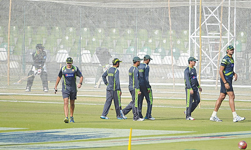 Pakistan cricketers in action during a training session on the eve of the second T20 against Zimbabwe.—AFP