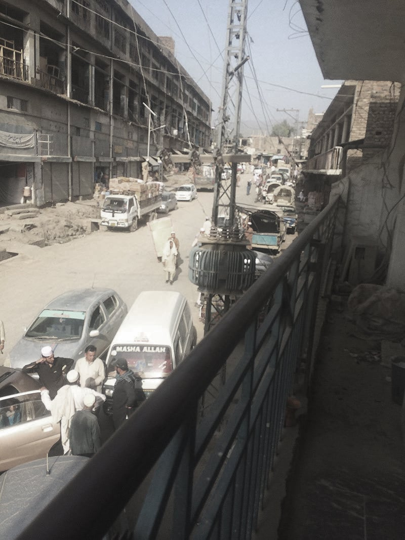 A view of the Landi Kotal bazaar from the balcony of the press club.