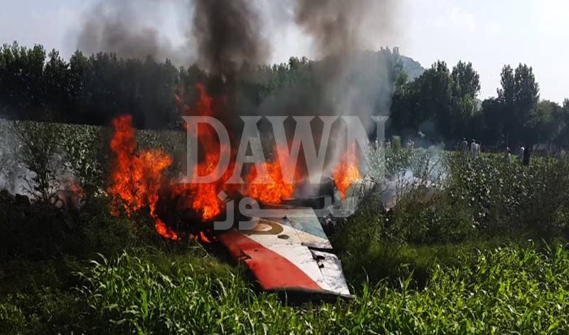 A view of the crash site in Swabi. — DawnNews screengrab