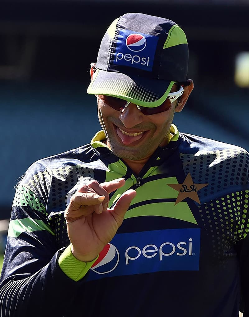 Misbah-ul-Haq gestures during a practice session in Adelaide. — AFP/File