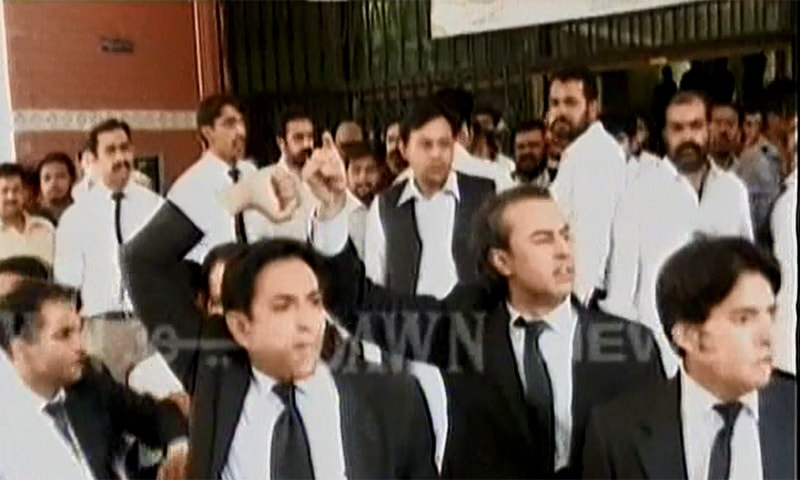 Two lawyers were killed and others wounded during a clash between protesting lawyers and police in the Daska tehsil of Sialkot on Monday. ─ DawnNews screengrab