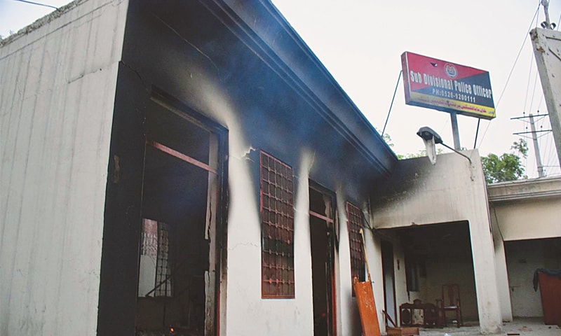 A VIEW of the gutted office of DSP Daska set ablaze by protesters after the killing of two lawyers on Monday.—PPI