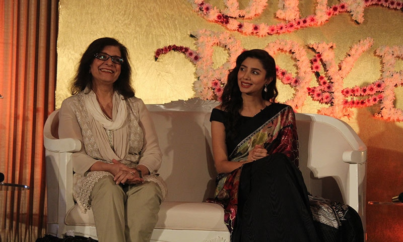 Sultana Siddiqui and Mahira Khan laugh at the press conference.— Photo by Zoya Anwer
