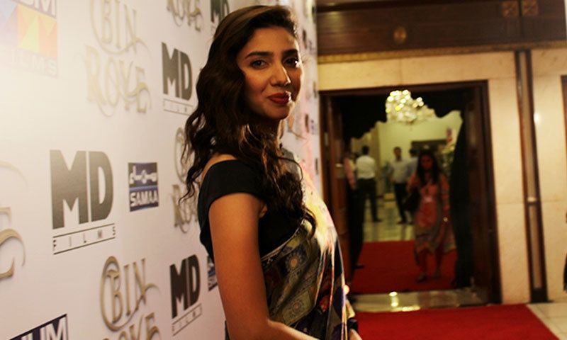 Mahira Khan looked lovely in a silk sari by Elan.— Photo by Zoya Anwer