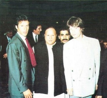 From L-R: Imran Khan, Nusrat Fateh Ali Khan and Mick Jagger. —Photo courtesy: Twitter