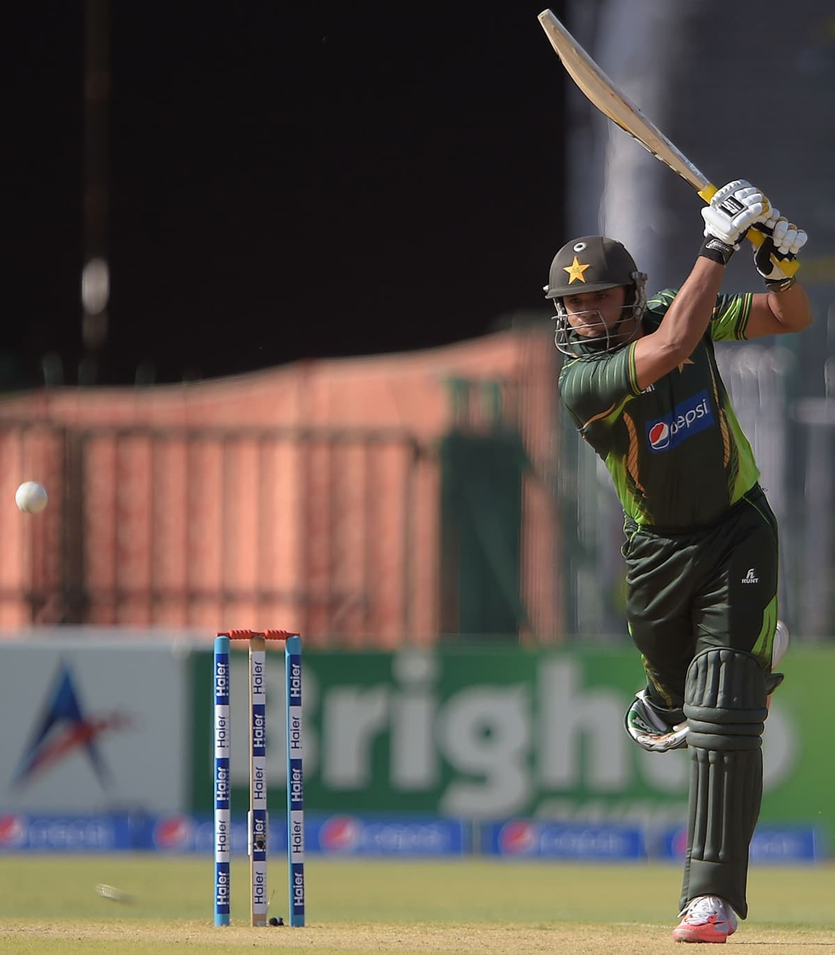 Azhar Ali plays a shot during the first ODI between Pakistan and Zimbabwe at the Gaddafi Stadium in Lahore. — AFP