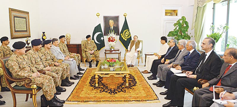 ISLAMABAD: Prime Minister Nawaz Sharif chairing a meeting attended by key ministers, army chief, DG of ISI and other generals here on Wednesday to review progress on the Zarb-i-Azb operation and National Action Plan.—White Star