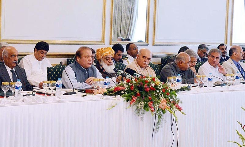 Prime Minister  Nawaz Sharif chairs the All Parties Conference on China Pak Economic Corridor at PM House. — APP/file
