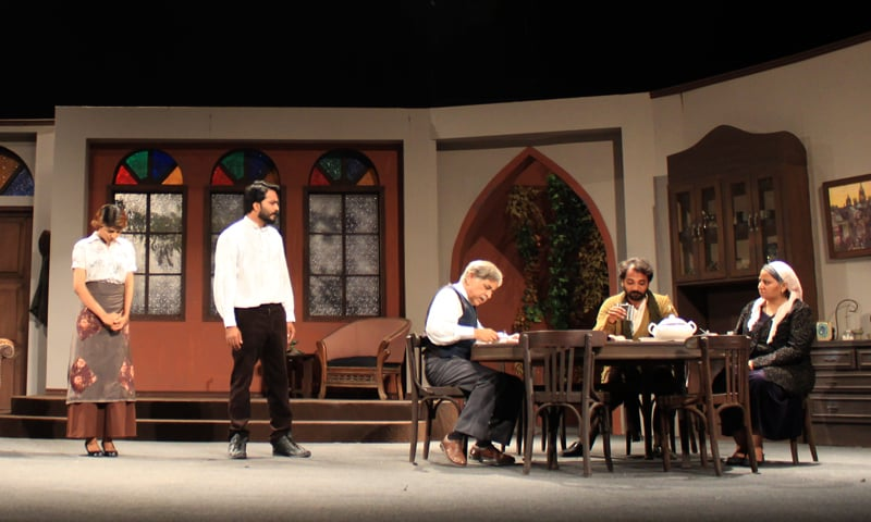 A scene from Dheti Deewarain where Vassily shows contempt toward Neil and Polya's relationship. — Photo by Hussain Ali