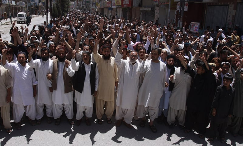 QUETTA: Traders demonstrate here on Sunday in protest against the Mastung massacre.—INP