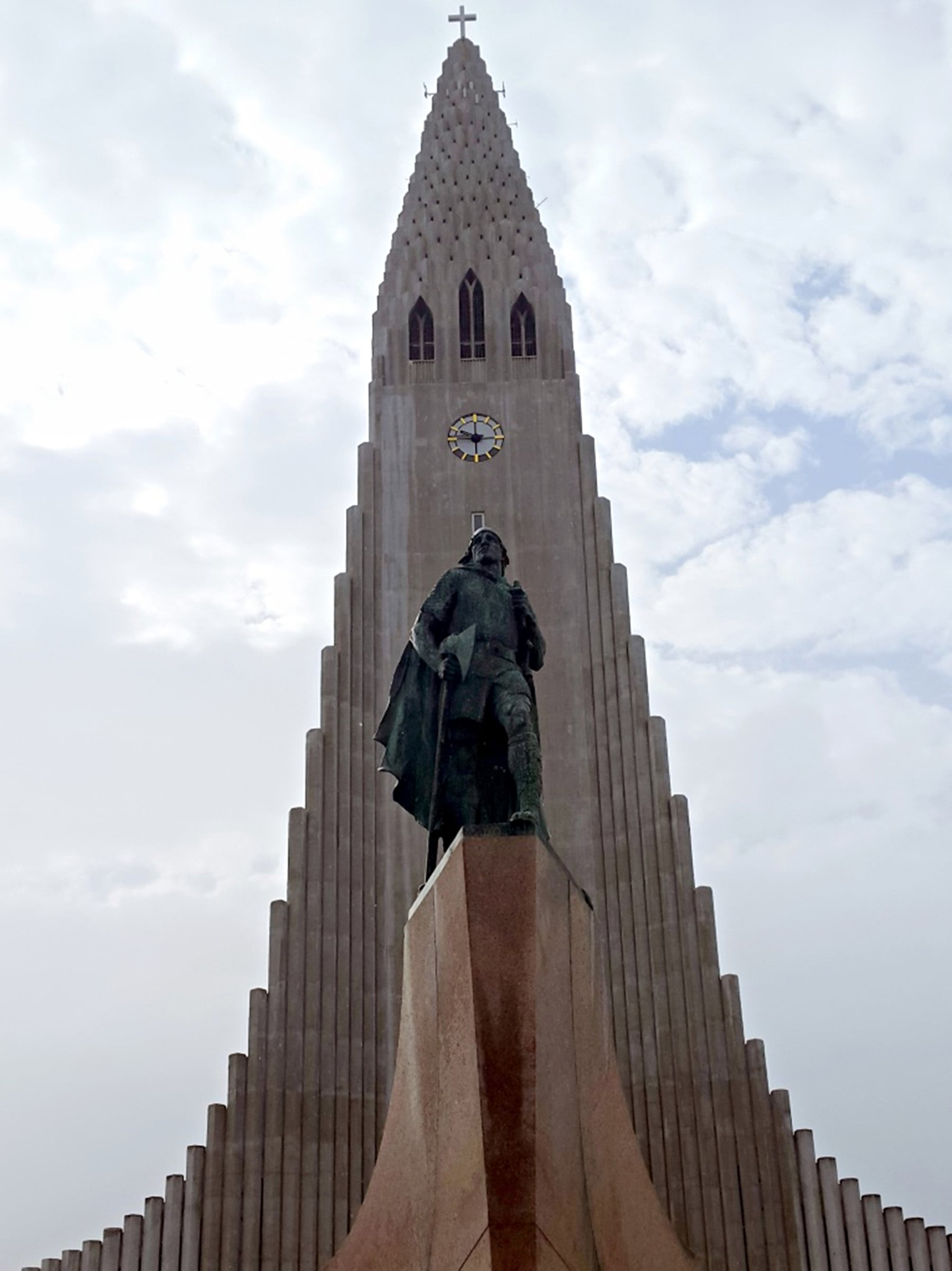 Hallgrimskirkja Cathedral is a landmark in Reykjavik and also one of the tallest buildings. Icelanders avoid building skyscrapers to preserve the scenic landscape that ribbons the city.