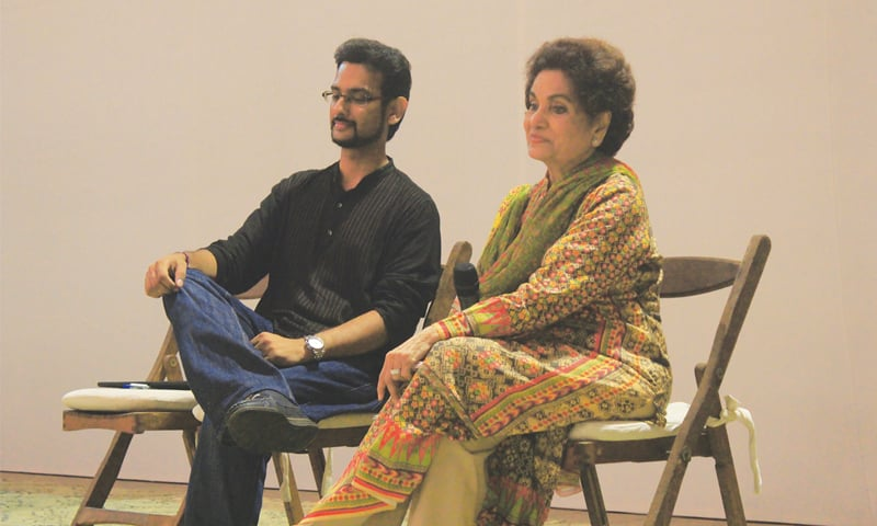 Playwright Haseena Moin with documentary film-maker Shabbir Siraj at the panel discussion.—White Star