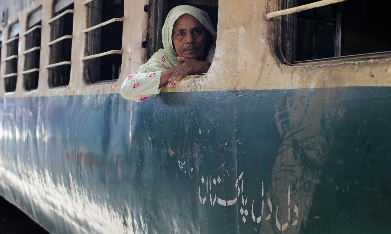 Passengers inside a train.