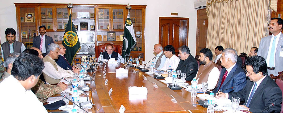 Prime Minister Nawaz Sharif chairing a meeting on law and order situation in Balochistan at Governor House. —  APP