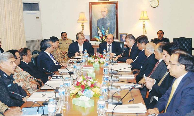 Sindh Chief Minister Syed Qaim Ali Shah chairs apex committee meeting. - PPI/File