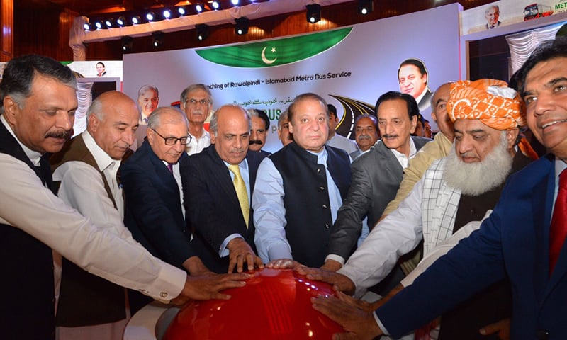 Prime Minister Nawaz Sharif, along with other leaders inaugurate the Metro Bus Project in the federal capital. — PM House