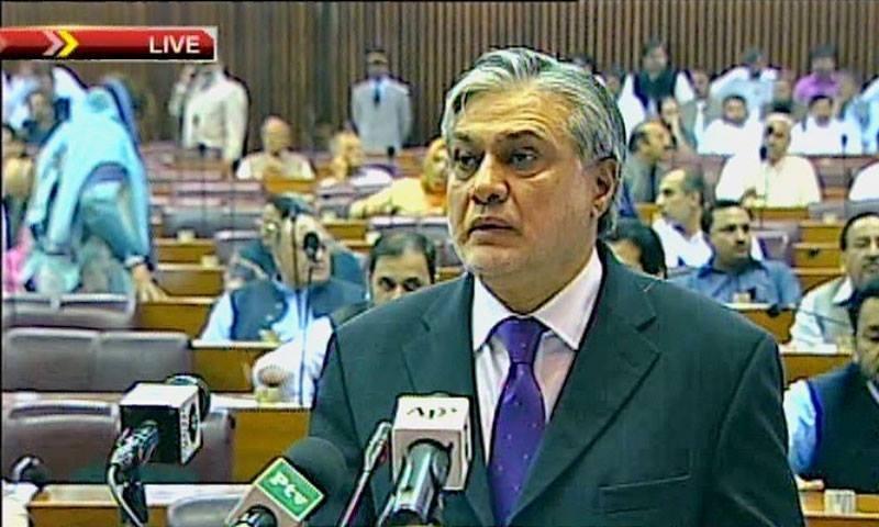 Ishaq Dar speaking on the assembly floor. ─ DawnNews screengrab