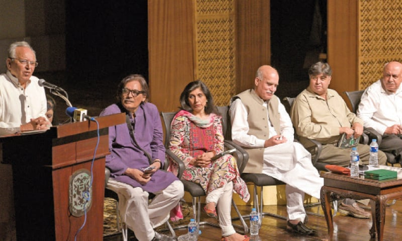 Uxi Mufti speaks at the launch of his book at the PNCA on Friday. The other picture is of folk singer Qurban Niazi singing during the ceremony. — White Star