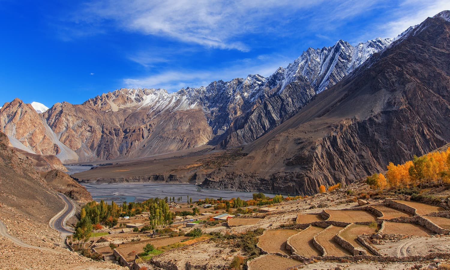 Gulmit Village and Passu Cones.